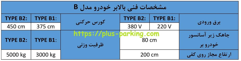 مشخصات فنی آسانسور ماشین یا بالابر خودرو مدل B